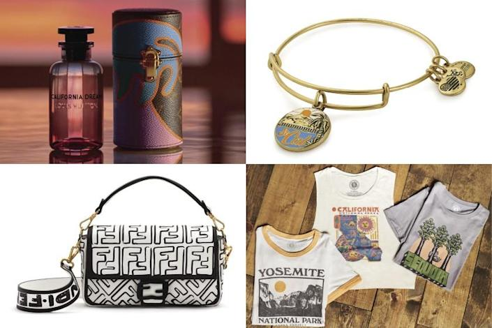"Fashion brands continue to show their love for California, including Louis Vuitton, Alex & Ani, Parks Project and Fendi. <span class=""copyright"">(Louis Vuitton, clockwise from top left; Alex & Ani; Parks Project; Fendi)</span>"
