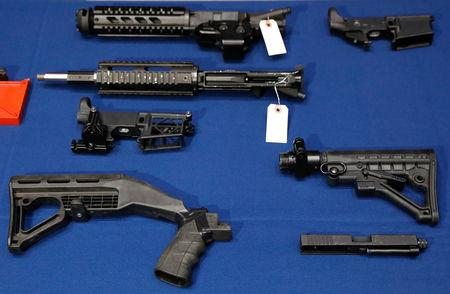 FILE PHOTO - Confiscated weapon components are seen during a news conference about a gun bust at New York City Police (NYPD) Headquarters in New York