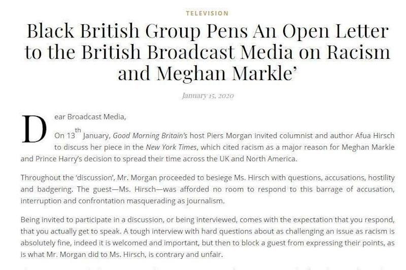 The furious open letter calls for a boycott of GMB over Piers Morgan's views on racism