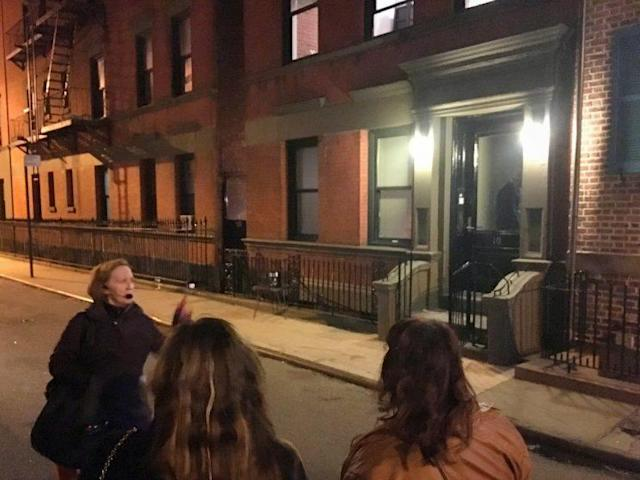 Mary tells stories about the house during the ghost-haunting tour on a Saturday night.
