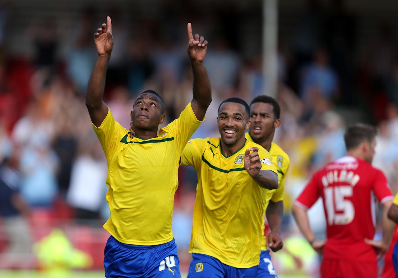 Coventry City's Franck Moussa celebrates scoring their second goal of the game during the Sky Bet League One match at Broadfield Stadium, Crawley.