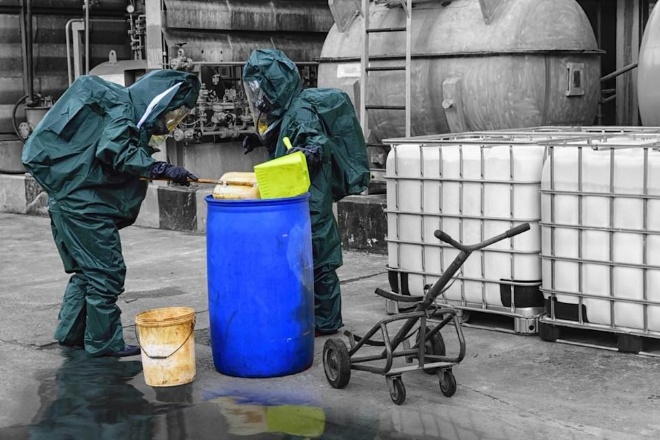 chemical spill pollution response team in action recovery stop spill of the chemical spill pollution at fac