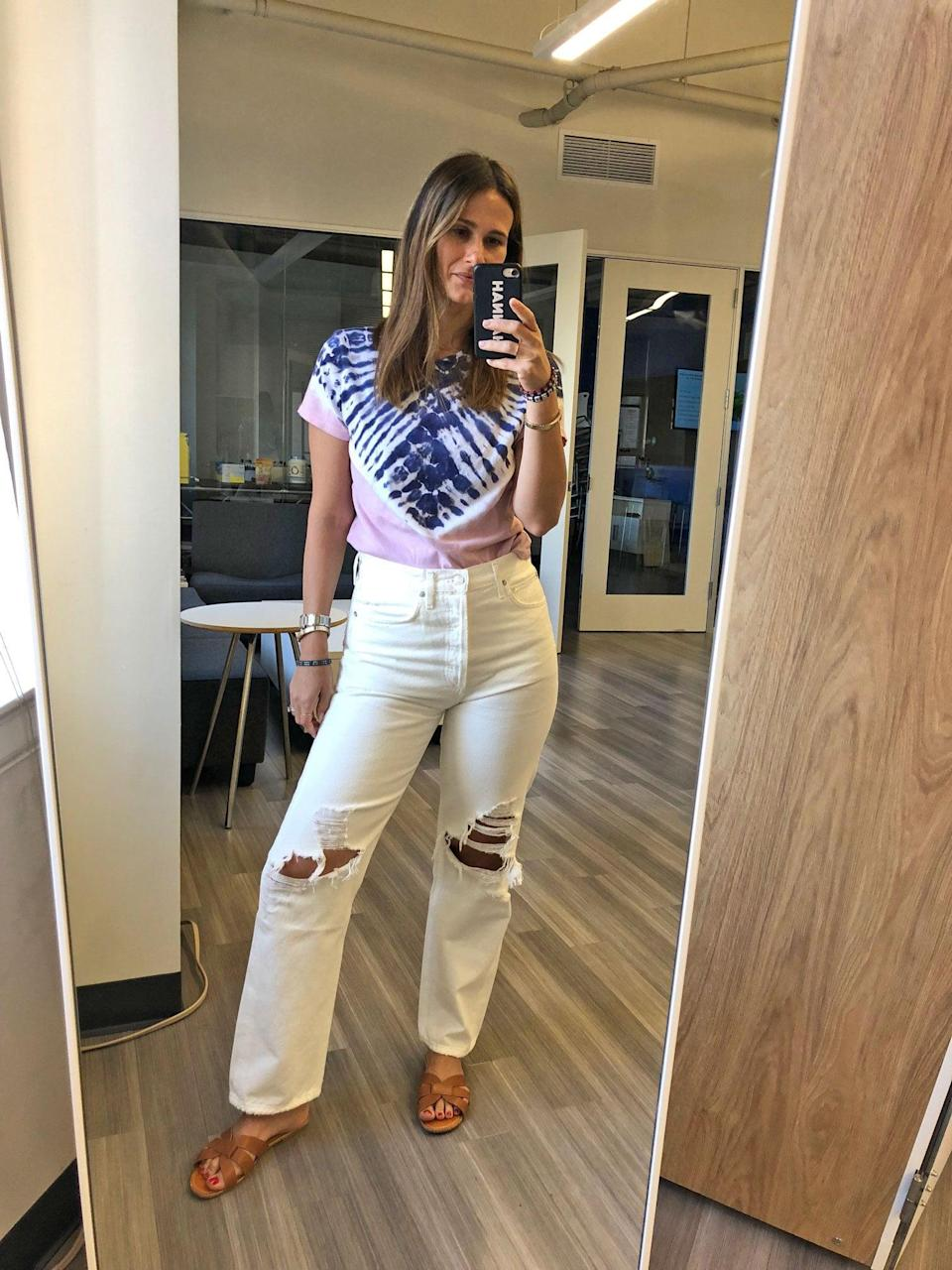 """<p>""""I had all but decided that the whole white-jeans thing just wasn't my thing, when I took a chance on <a href=""""https://www.popsugar.com/buy/Agolde%27s%20%2790s%20Fit%20Denim-463067?p_name=Agolde%27s%20%2790s%20Fit%20Denim&retailer=shopbop.com&evar1=fab%3Aus&evar9=46316761&evar98=https%3A%2F%2Fwww.popsugar.com%2Ffashion%2Fphoto-gallery%2F46316761%2Fimage%2F46316772%2FHannah-Pick-Agolde-90s-Fit-Jeans&list1=shopping%2Cdenim%2Ceditors%20pick&prop13=api&pdata=1"""" rel=""""nofollow noopener"""" target=""""_blank"""" data-ylk=""""slk:Agolde's '90s Fit Denim"""" class=""""link rapid-noclick-resp"""">Agolde's '90s Fit Denim</a>. It makes sense - I already <a href=""""https://www.popsugar.com/fashion/photo-gallery/45827754/image/45851310/Agolde-Riley-High-Rise-Straight-Crop-Jeans-Veto"""" rel=""""nofollow noopener"""" target=""""_blank"""" data-ylk=""""slk:love the fit of Agolde jeans"""" class=""""link rapid-noclick-resp"""">love the fit of Agolde jeans</a> - but it's not just the higher rise and relaxed fit through the thighs that make these work - they are also the right weight (read: not see-through or clingy) and have the perfect distressing that I suspect only gets better with wear."""" - Hannah McKinley, content director, Fashion and Shop</p>"""