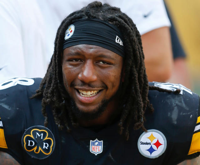 FILE - In this Sept. 17, 2017, file photo, Pittsburgh Steelers outside linebacker Bud Dupree (48)smiles on the sideline during an NFL football game against the Minnesota Vikings, in Pittsburgh. The Steelers have exercised the fifth-year option on outside linebacker Bud Dupree. The Steelers made the announcement on Monday, April 23, 2018, three days before the start of the draft. The move will keep the 24-year-old Dupree under contract for the 2019 season. (AP Photo/Keith Srakocic, File)