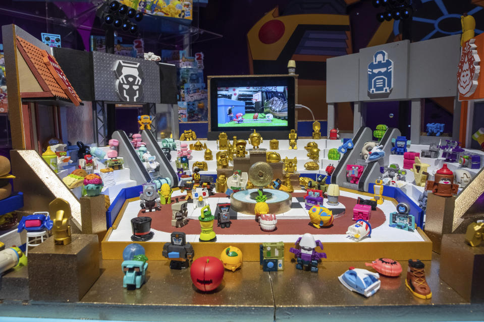 IMAGE DISTRIBUTED FOR HASBRO - The TRANSFORMERS: BOTBOTS figures, mischievous little robots who came to life from everyday objects inside a shopping mall, on display at the Hasbro, Inc. showroom at Toy Fair New York on Saturday, Feb. 22, 2020. (Charles Sykes/AP Images for Hasbro)