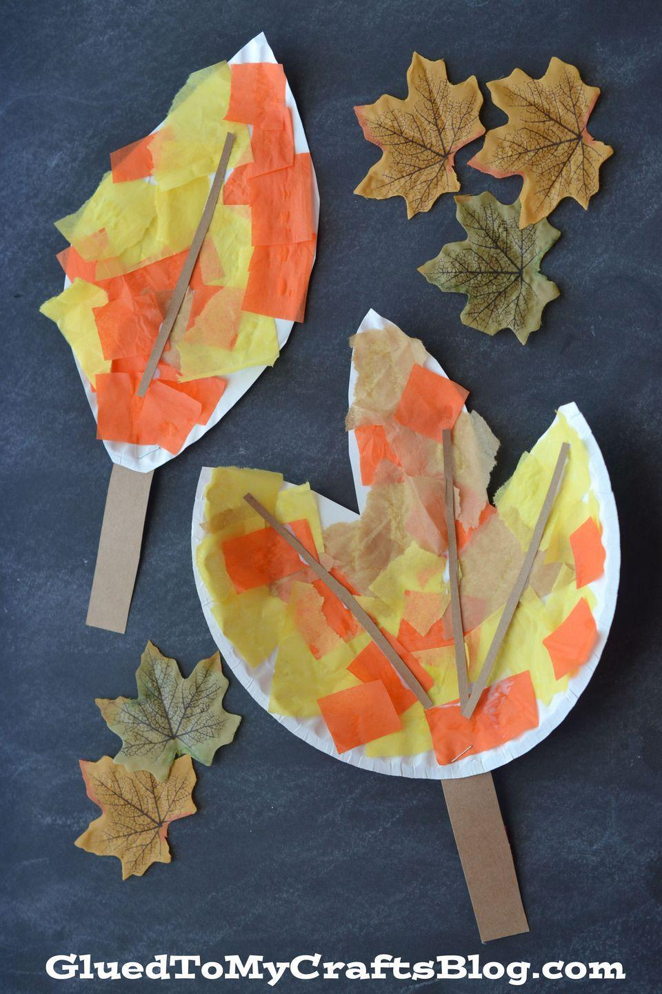 """<p>Mimic the changing leaves outside with these kid-friendly versions, embellished with stickers, doodles and glitter glue. </p><p><em><a href=""""http://gluedtomycraftsblog.com/2015/08/paper-plate-leaf-kid-craft.html"""" rel=""""nofollow noopener"""" target=""""_blank"""" data-ylk=""""slk:Get the tutorial at Glued to My Crafts »"""" class=""""link rapid-noclick-resp"""">Get the tutorial at Glued to My Crafts »</a></em> </p>"""