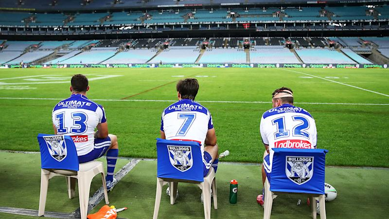 Similar scenes at ANZ Stadium, pictured here as the Bulldogs took on the Cowboys.