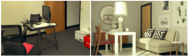 An office space transformed. The generic room on the left gets a dramatic face lift with Modsy, a 3D home decoration service.