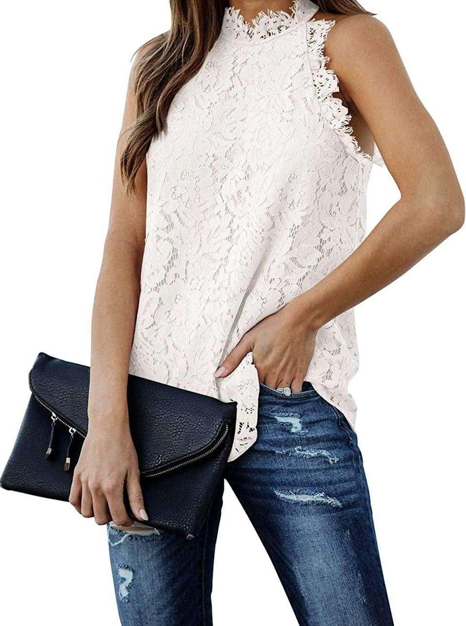 <p>We have heart eyes for this <span>Berryou Lace Trim Sleeveless Top</span> ($20).</p>