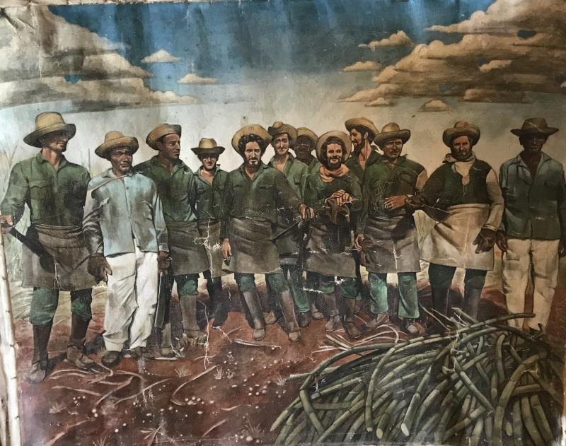 A painting of Cuban sugar cane cutters.