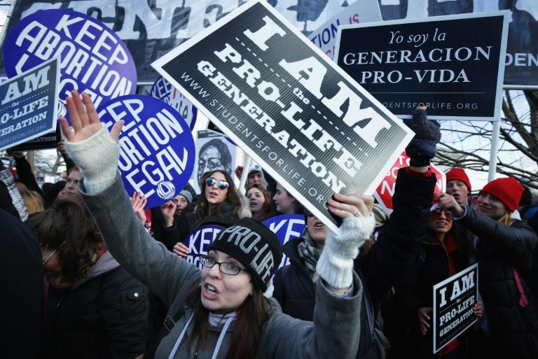 Anti-abortion activists try to disrupt a march by abortion rights activists in Washington on January 22, 2019 (AFP Photo/ALEX WONG)