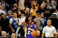 Kobe Bryant passed Michael Jordan for third on the all-time scoring list with a free throw against the Minnesota Timberwolves in December 2014, receiving a warm ovation from the Midwest crowd. (Hannah Foslien/Getty Images)