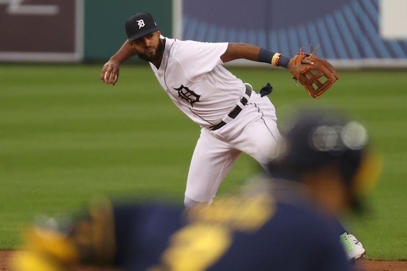 Tigers shortstop Willi Castro #49 of the Detroit Tigers throws out a Brewers runner in the second inning at Comerica Park on Tuesday, Sept. 8, 2020.