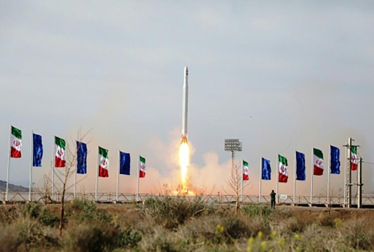 An image from Iran state media showing the launch of the Nour satellite