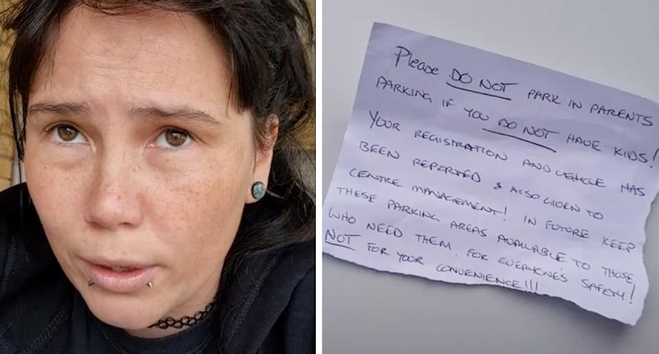 The mum revealed the note left on her car in a TikTok. Source: TikTok/@infernoinsomnia