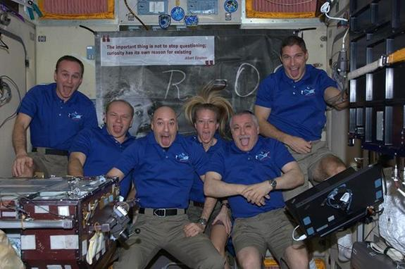 In a goofy photo, the six astronauts on board the International Space Station pay tribute to the departure of their resupply ship named after Albert Einstein.
