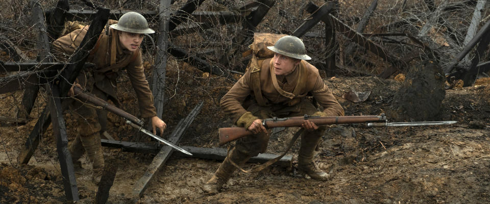 "This image released by Universal Pictures shows Dean-Charles Chapman, left, and George MacKay in a scene from ""1917,"" directed by Sam Mendes. Nominations to the 92nd Academy Awards will be announced on Monday, Jan. 13. (François Duhamel/Universal Pictures via AP)"