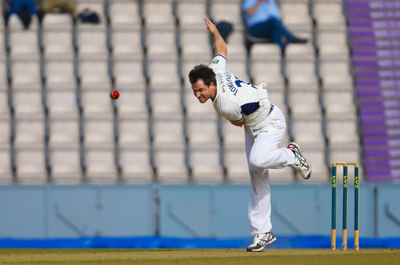 Hampshire bowler James Tomlinson in action during the LV= County Championship Division Two match at The Ageas Bowl, Southampton against Essex.