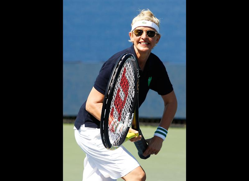 Is Ellen training to be the next U.S. Open champion?