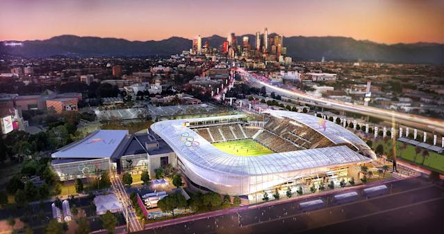 <p>The L.A. Football Club is shown in this Downtown Sports Park rendering. (Photo: Courtesy LA 2024) </p>