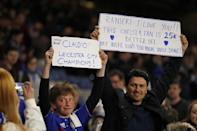 "Britain Football Soccer - Chelsea v Tottenham Hotspur - Barclays Premier League - Stamford Bridge - 2/5/16 Chelsea fans display banners in reference to Leicester City manager Claudio Ranieri Action Images via Reuters / John Sibley Livepic EDITORIAL USE ONLY. No use with unauthorized audio, video, data, fixture lists, club/league logos or ""live"" services. Online in-match use limited to 45 images, no video emulation. No use in betting, games or single club/league/player publications. Please contact your account representative for further details."