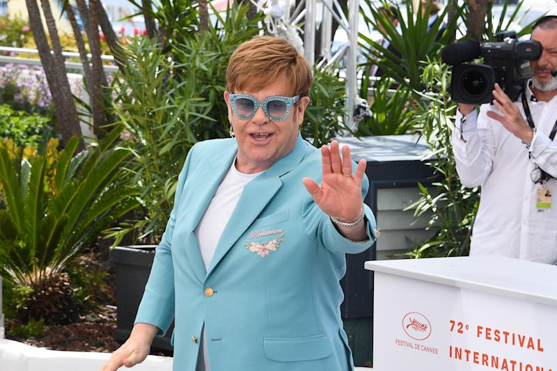 Elton John at the Rocketman photocall during 72th International Cannes Film Festival in Cannes, France on May 16, 2019. (Photo by Lionel Urman/Sipa USA)