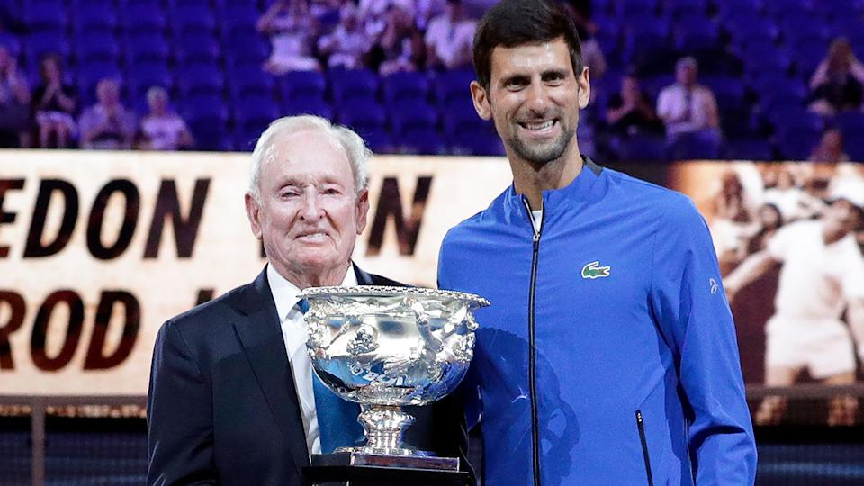 Rod Laver is seen here with Novak Djokovic at the 2019 US Open.