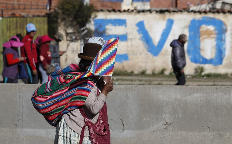 """A supporter of former President Evo Morales covers her face from the sunlight with a Wiphala flag as she participates in blocking the highway access to the """"Yacimientos Petroliferos Fiscales Bolivianos"""" plant in El Alto, Bolivia, Sunday, Nov. 17, 2019. Bolivia's political crisis turned deadly after security forces opened fire on supporters of Morales in Sacaba on Nov. 15, killing multiple people and injuring dozens. (AP Photo/Natacha Pisarenko)"""