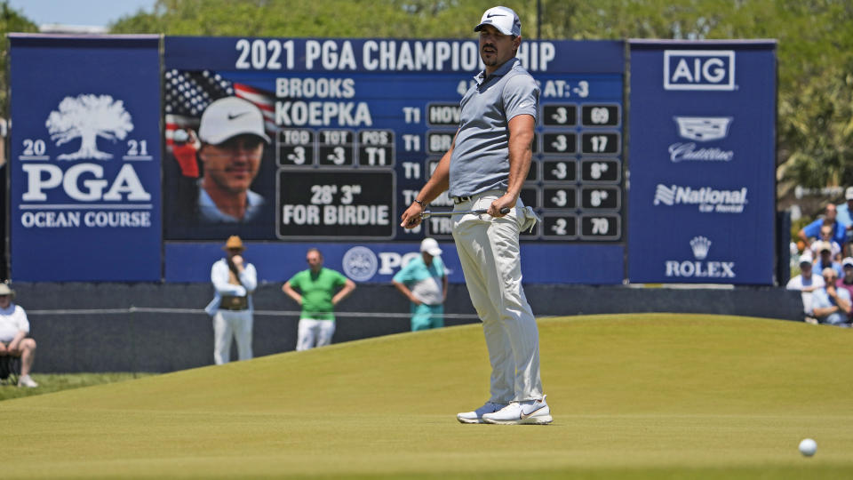 Brooks Koepka misses a birdie putt on the ninth hole during the first round of the PGA Championship golf tournament on the Ocean Course Thursday, May 20, 2021, in Kiawah Island, S.C. (AP Photo/David J. Phillip)