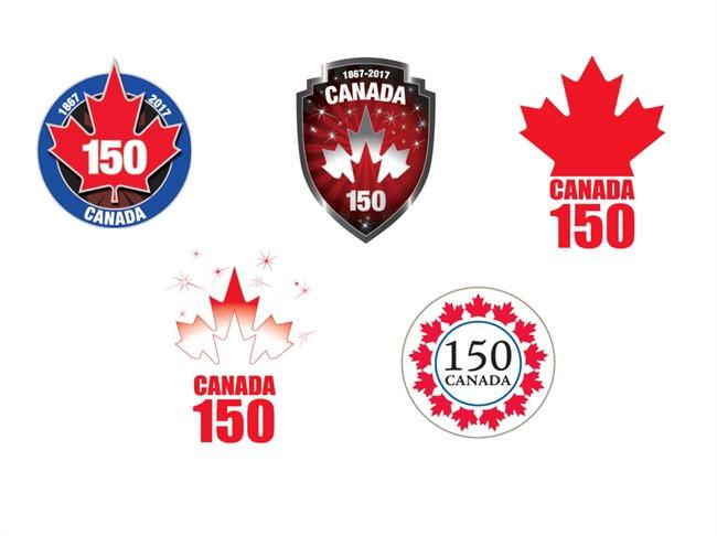Proposed logos for Canada's 150th birthday are shown in a handout photo. The logos are getting decidedly mixed reviews from the first Canadians to see them, with some complaining one looks too much like a hockey puck and another is too Disneyland.There were also complaints about a military theme conjured by a badge-like logo, while another retro design was slammed as too boring ??? and it looked like a doily. THE CANADIAN PRESS/HO-Canadian Heritage