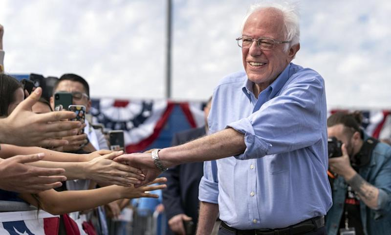 Sanders greets supporters at a campaign rally in California.