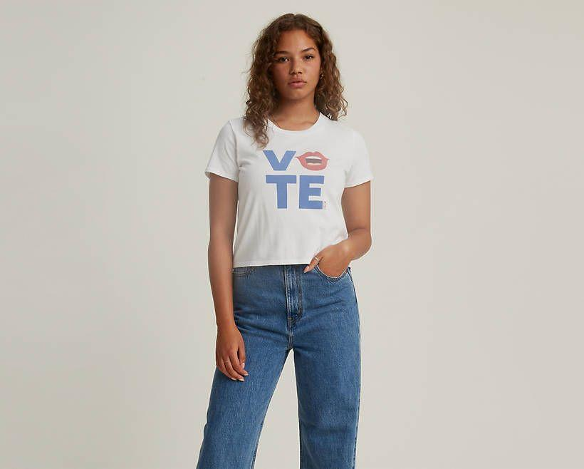 """<p><strong>Levi's</strong></p><p>levi.com</p><p><strong>$30.00</strong></p><p><a href=""""https://go.redirectingat.com?id=74968X1596630&url=https%3A%2F%2Fwww.levi.com%2FUS%2Fen_US%2Fclothing%2Fwomen%2Fshirts-blouses-tops%2Flevis-x-vote-cropped-surf-tee-shirt%2Fp%2F296740113&sref=https%3A%2F%2Fwww.marieclaire.com%2Ffashion%2Fg33585252%2Fvoter-merchandise%2F"""" rel=""""nofollow noopener"""" target=""""_blank"""" data-ylk=""""slk:SHOP IT"""" class=""""link rapid-noclick-resp"""">SHOP IT</a></p><p>Pre-pandemic, this Levi's cropped vote tee would have been an ideal shirt to wear with a leather jacket to the bar. The brand has <a href=""""https://www.levi.com/US/en_US/itsyourvote"""" rel=""""nofollow noopener"""" target=""""_blank"""" data-ylk=""""slk:teamed up with Rock the Vote"""" class=""""link rapid-noclick-resp"""">teamed up with Rock the Vote</a> for a larger initiative to get the word out, and your purchase is a part of it. </p>"""