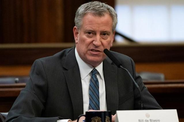 FILE PHOTO: New York City Mayor Bill de Blasio speaks during a news conference for the outbreak of Coronavirus disease (COVID-19) at City Hall in the Manhattan borough of New York