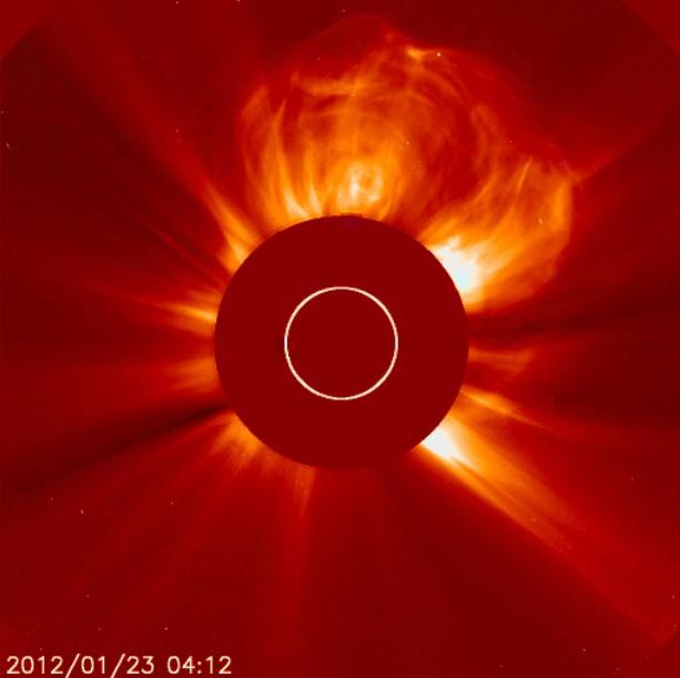 IN SPACE - JANUARY 23:  In this handout from the NOAA/National Weather Service's Space Weather Prediction Center, shows the coronal mass ejection (CME) erupting from the sun late January 23, 2012. The flare is reportedly the largest since 2005 and is expected to affect GPS systems and other communications when it reaches the Earth's magnetic field in the morning of January 24.  (Photo by NOAA/National Weather Service's Space Weather Prediction Center via Getty Images)