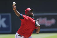Minnesota Twins starting pitcher Michael Pineda throws to the Houston Astros in the first inning of a baseball game, Sunday, June 13, 2021, in Minneapolis. (AP Photo/Andy Clayton-King)