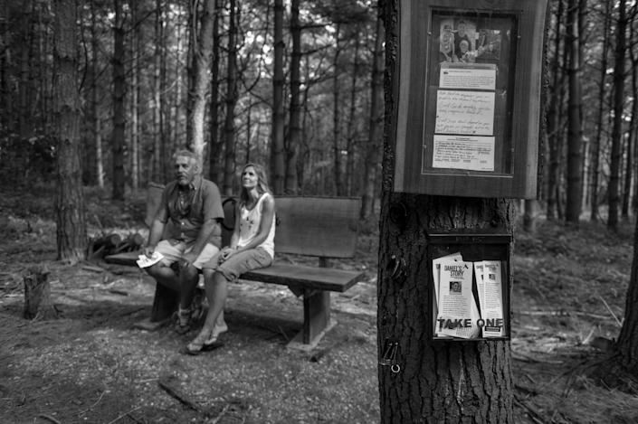 <p>Scott Weidle and his wife Carrie Weidle sit on a bench in the memorial park in Germantown, Ohio that he built in honor of his son Daniel Weide who died from an overdose of heroin.<br> (Photograph by Mary F. Calvert for Yahoo News) </p>