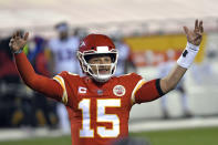 Kansas City Chiefs quarterback Patrick Mahomes celebrates at the end of the AFC championship NFL football game against the Buffalo Bills, Sunday, Jan. 24, 2021, in Kansas City, Mo. The Chiefs won 38-24. (AP Photo/Reed Hoffmann)