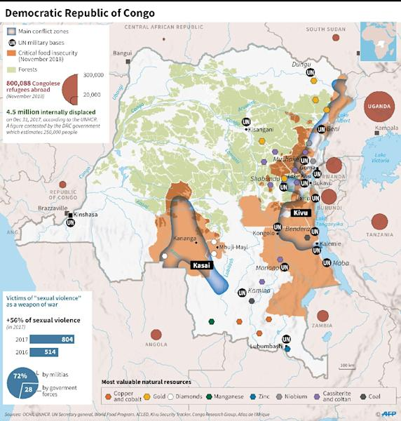 Map showing main conflict zones, refugees, food insecurity and mineral resources in the Democratic Republic of Congo. (AFP Photo/Dario INGIUSTO)