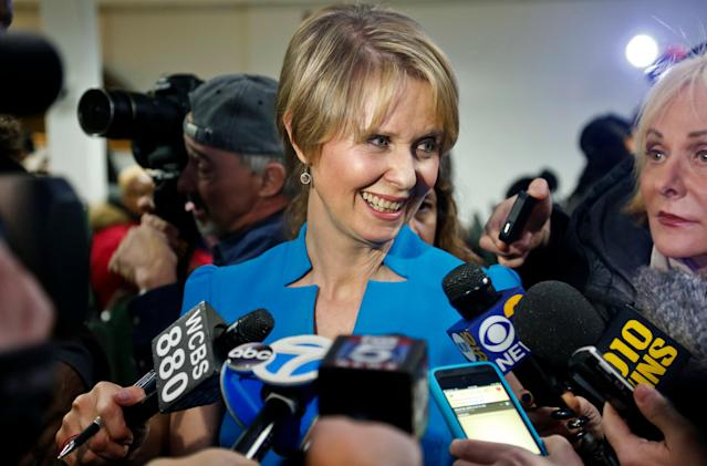 Candidate for New York governor Cynthia Nixon speaks with reporters at her first campaign stop, in the Brownsville section of Brooklyn, in New York. Nixon will challenge New York Gov. Andrew Cuomo for the Democratic nomination. (Photo: Shutterstock)