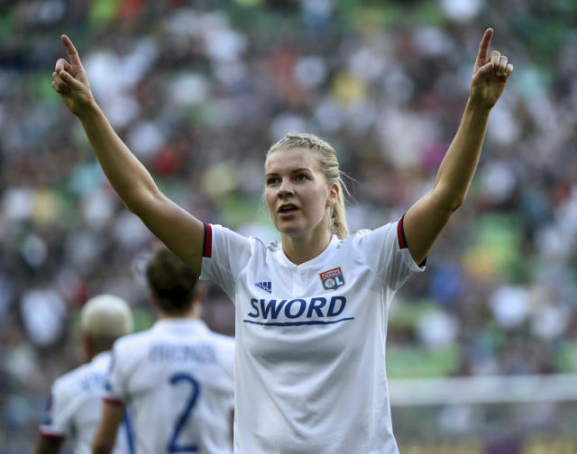 Ada Hegerberg of Lyon celebrates her goal during the women's soccer UEFA Champions League final match between Olympique Lyon and FC Barcelona at the Groupama Arena in Budapest, Hungary, Saturday, May 18, 2019. (Balazs Czagany/MTI via AP)
