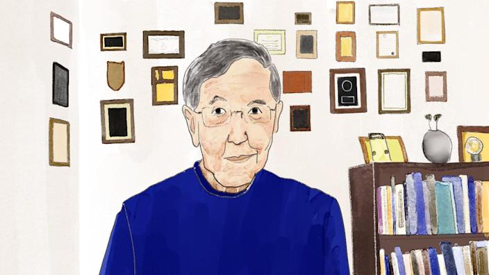 An illustration of professor Derald Wing Sue in his office