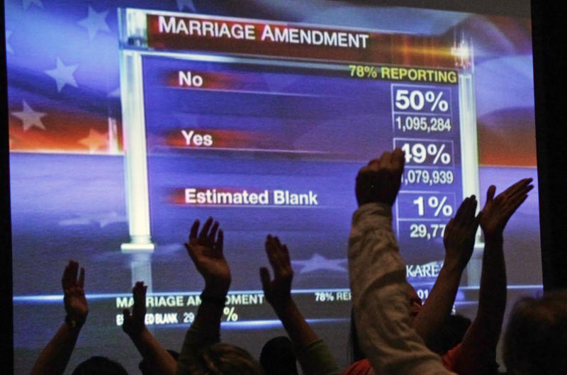 "Minnesotans United for All Families who oppose the gay marriage amendment cheer as the screen shows the ""no"" vote leading during the election night watch party early Wednesday, Nov. 7, 2012 in St. Paul, Minn. (AP Photo/Jim Mone)"