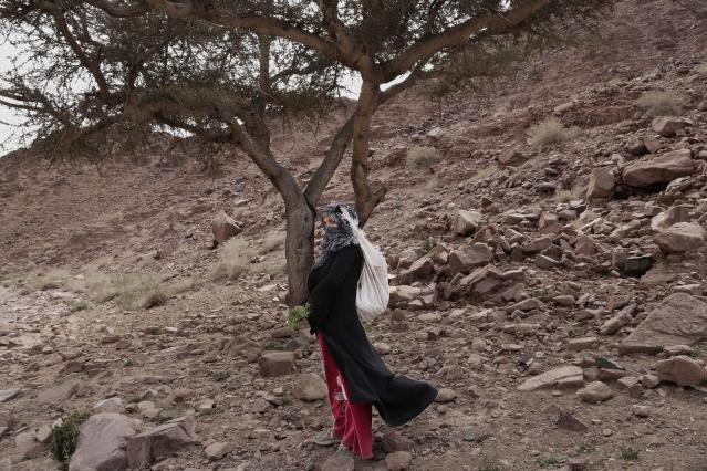 In this March 29, 2019 photo, Umm Yasser poses for a photograph on a trek in the mountains near Wadi Sahw, Abu Zenima, in South Sinai, Egypt. Umm Yasser is breaking new ground among the deeply conservative Bedouin of Egypt's Sinai Peninsula. Women among the Bedouin almost never work outside the home, and even more rarely do they interact with outsiders. But Umm Yasser is one of four women from the community who for the first time are working as tour guides. (AP Photo/Nariman El-Mofty)