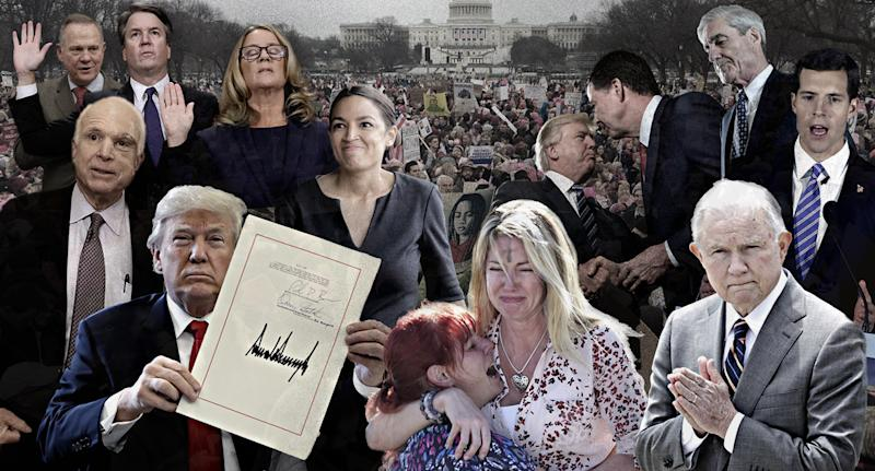 Front row, from left: John McCain, Donald Trump, Parkland, Fla., Jeff Sessions. Back row, from left: Roy Moore, Brett Kavanaugh, Christine Blasey Ford, Alexandria Ocasio-Cortez, Donald Trump and James Comey, Robert Mueller, Conor Lamb