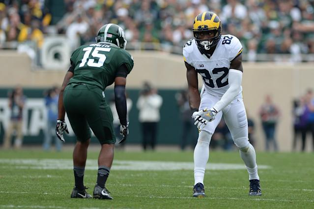 "<a class=""link rapid-noclick-resp"" href=""/ncaaf/players/257181/"" data-ylk=""slk:Tyson Smith"">Tyson Smith</a> played in 15 games over his first two seasons at Michigan State. <br>(Getty Images)"