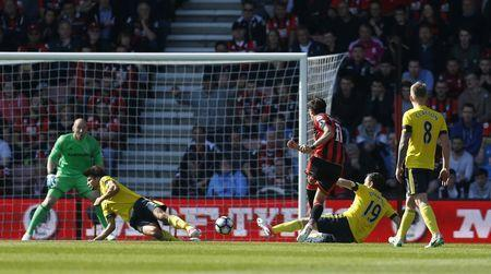 Britain Soccer Football - AFC Bournemouth v Middlesbrough - Premier League - Vitality Stadium - 22/4/17 Bournemouth's Charlie Daniels scores their fourth goal Action Images via Reuters / Matthew Childs