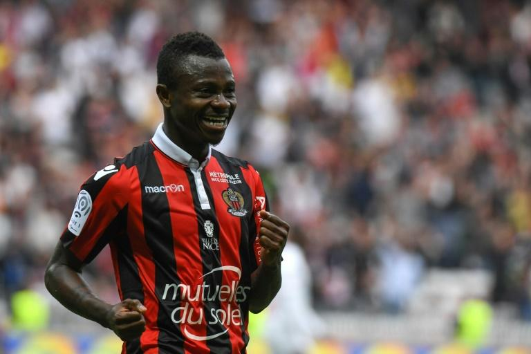 Nice's Jean Michael Seri celebrates after scoring a goal against AS Nancy Lorraine at the Allianz Riviera Stadium, in Nice, on April 15, 2017