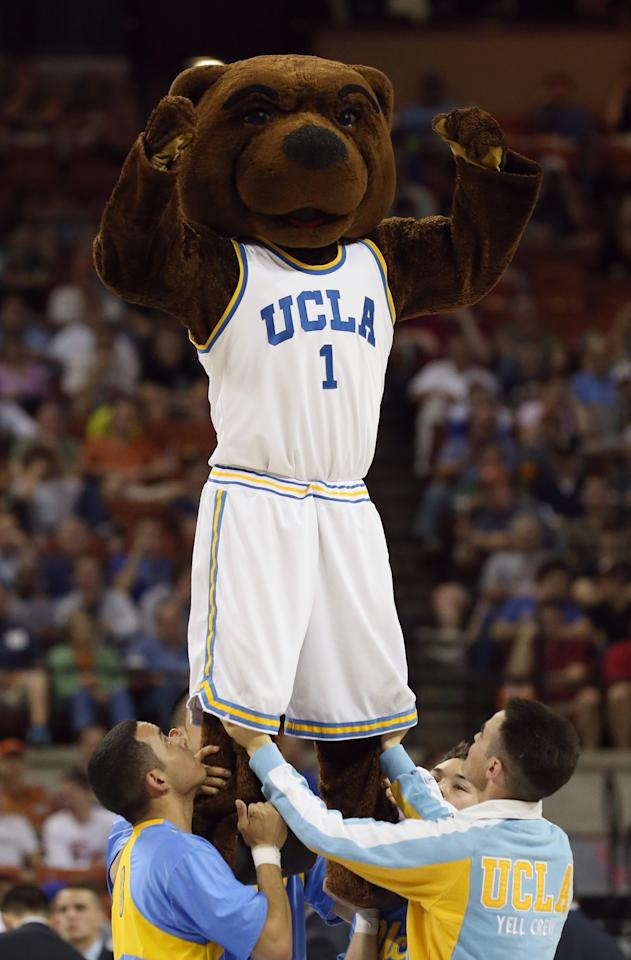 AUSTIN, TX - MARCH 22:  The UCLA Bruin mascot Joe Bruin performs during the game against Minnesota Golden Gophers during the second round of the 2013 NCAA Men's Basketball Tournament at The Frank Erwin Center on March 22, 2013 in Austin, Texas.  (Photo by Stephen Dunn/Getty Images)