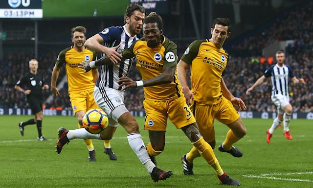 West Brom's Jay Rodriguez tangles with Brighton's No3, Gaëtan Bong, during the game at which the alleged incident occurred.