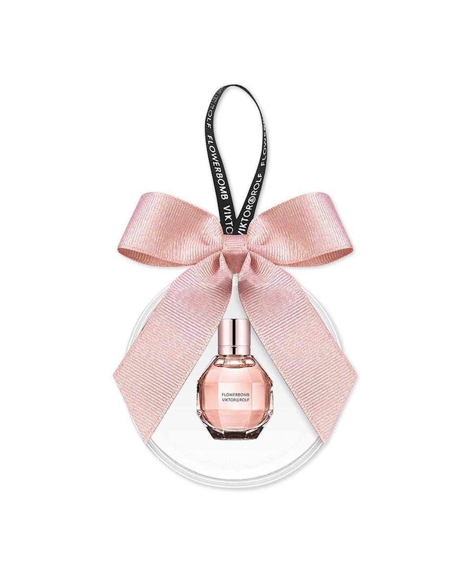 """<p><strong>Viktor & Rolf</strong></p><p>macys.com</p><p><strong>$15.00</strong></p><p><a href=""""https://go.redirectingat.com?id=74968X1596630&url=https%3A%2F%2Fwww.macys.com%2Fshop%2Fproduct%2Fviktor-rolf-flowerbomb-eau-de-parfum-ornament%3FID%3D10227690&sref=https%3A%2F%2Fwww.seventeen.com%2Flife%2Ffriends-family%2Fg30140775%2Fgifts-for-mom-from-daughter%2F"""" rel=""""nofollow noopener"""" target=""""_blank"""" data-ylk=""""slk:Shop Now"""" class=""""link rapid-noclick-resp"""">Shop Now</a></p><p>This pretty bottle smells as good as it looks and for $25, you might want to grab one for yourself.</p>"""